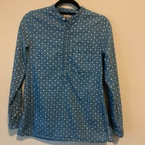 Madewell Chambray Denim Floral Stamp Top Small